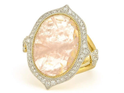 Closeup image for View Provence Pave Oval Stone Quad Ring - R25f15-Mg-Wdcb-Y By Jude Frances