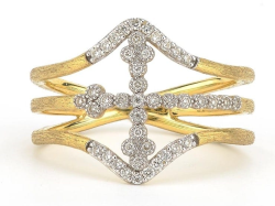 Closeup image for View Provence Champagne Oval Bezel Cross Ring By Jude Frances