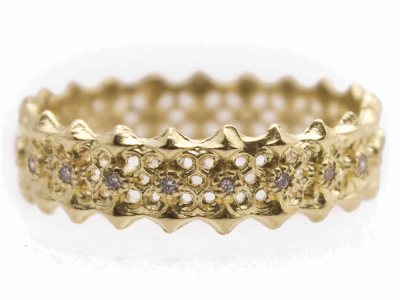 Collection: Sueno Style #: 13232 Description: Sueno 18k yellow gold multi-crivelli eternity white diamond band ring. Diamond weight - 0.11 ct.Metal: 18k Yellow Gold