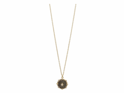 """Collection: Sueno Style #: 13593 Description: Sueno 18k yellow gold 16""""-18"""" 13mm pointed round crivelli artifact drop necklace with white diamonds. Diamond weight - 0.13 ct.Metal: 18k Yellow Gold"""