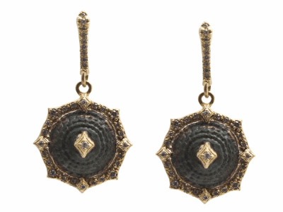 Collection: Sueno Style #: 13592 Description: Sueno 18k yellow gold 13mm pointed round crivelli artifact drop earring with white diamonds. Diamond weight - 0.36 ct.Metal: 18k Yellow Gold
