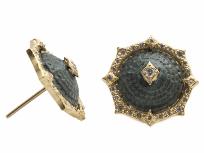 Collection: Sueno Style #: 13585 Description: Sueno 18k yellow gold 13mm pointed round crivelli artifact stud earring with white diamonds. Diamond weight - 0.27 ct.Metal: 18k Yellow Gold