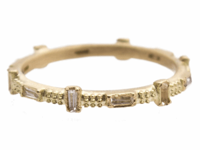 Collection: Sueno Style #: 13567 Description: Sueno 18k yellow gold 12-sapphire baguette stack ring.Metal: 18k Yellow Gold