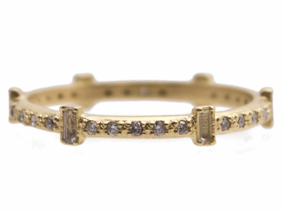 Collection: SuenoStyle #: 13537Description: Sueno 18k yellow gold 6-sapphire baguette stack ring with white diamonds and white sapphires. Diamond weight - 0.15 ct.Metal: 18k Yellow Gold