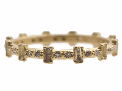 Collection: Sueno Style #: 13536 Description: Sueno 18k yellow gold 12-sapphire baguette stack ring with white diamonds and white sapphires. Diamond weight - 0.12 ct.Metal: 18k Yellow Gold