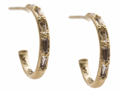 Collection: Sueno Style #: 13530 Description: Sueno 18k yellow gold petite huggie earring with white sapphire baguettes.Metal: 18k Yellow Gold