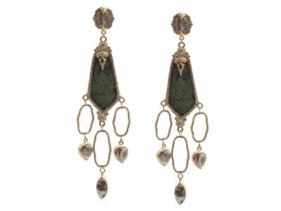 Collection: Sueno Style #: 13428 Description: Sueno 18k yellow gold paisley artifact multi-oval chandelier earring with Aquaprase cabochons, white diamonds and blue sapphires. Diamond weight - 2.21 ct.Metal: 18k Yellow Gold