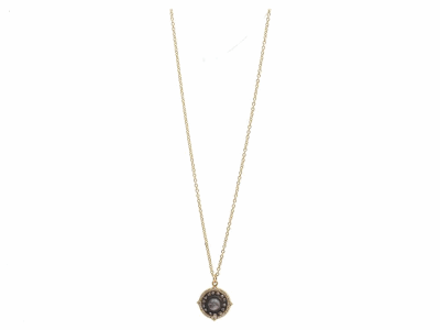 """Collection: Sueno Style #: 13617 Description: Sueno 18k yellow gold 16""""-18"""" 12mm pointed round artifact drop necklace with Aquaprase cabochon and white diamonds. Diamond weight - 0.19 ct.Metal: 18k Yellow Gold"""