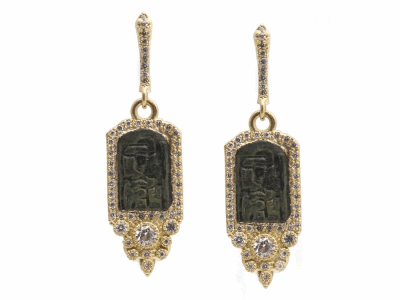 Collection: Sueno Style #: 13615 Description: Sueno 18k yellow gold 12mm pointed rectangle artifact earring with white diamonds. Diamond weight - 0.67 ct.Metal: 18k Yellow Gold