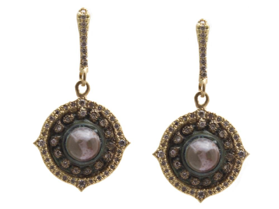 Collection: Sueno Style #: 13595 Description: Sueno 18k yellow gold 12mm pointed round artifact earring with Aquaprase cabochon and white diamonds. Diamond weight - 0.46 ct.Metal: 18k Yellow Gold