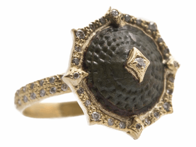 Collection: Sueno Style #: 13594 Description: Sueno 18k yellow gold 13mm pointed round crivelli artifact ring with white diamonds. Diamond weight - 0.25 ct.Metal: 18k Yellow Gold