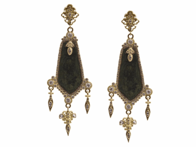 Collection: Sueno Style #: 13642 Description: Sueno 18k yellow gold Couture paisley triple-dagger artifact earring with white diamonds and white sapphires. Diamond weight - 1.98 ct.Metal: 18k Yellow Gold
