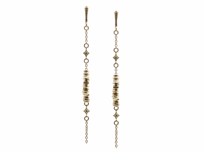 Collection: SuenoStyle #: 13638Description: Sueno 18k yellow gold nugget chandelier earring with champagne diamonds. Diamond weight - 0.04 ct.Metal: 18k Yellow Gold