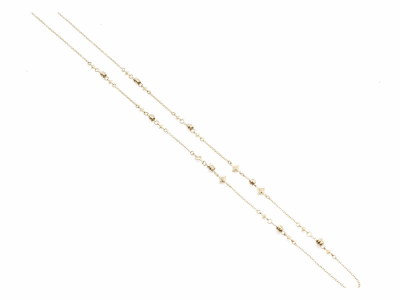 """Collection: Sueno Style #: 13637 Description: Sueno 18k yellow gold 33""""-34"""" nugget and crivelli chain necklace with white diamonds. Diamond weight - 0.26 ct.Metal: 18k Yellow Gold"""