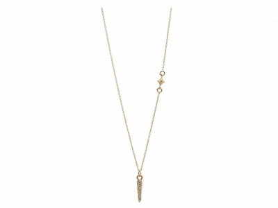 "Collection: Sueno Style #: 13633 Description: Sueno 18k yellow gold 18""-20"" petite pave spike necklace with crivelli insert and white diamonds. Diamond weight - 0.16 ct.Metal: 18k Yellow Gold"
