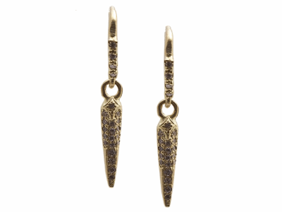 Collection: Sueno Style #: 13628 Description: Sueno 18k yellow gold small crivelli pave spike drop earring with white diamonds. Diamond weight - 0.21 ct.Metal: 18k Yellow Gold