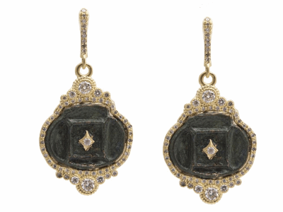 Collection: Sueno Style #: 13624 Description: Sueno 18k yellow gold horizontal oval artifact earring with white diamonds. Diamond weight - 1.1 ct.Metal: 18k Yellow Gold
