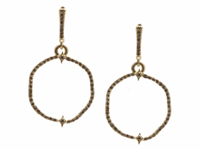 Collection: Sueno Style #: 13822 Description: Sueno 18k yellow gold wavy circle earring with champagne diamonds. Diamond weight - 0.42 ct.Metal: 18k Yellow Gold