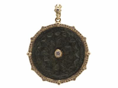 Collection: Sueno Style #: 13748 Description: Sueno 18k yellow gold 31mm pointed round artifact enhancer with white diamonds. Diamond weight - 0.46 ct.Metal: 18k Yellow Gold