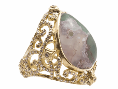 Collection: Sueno Style #: 13688 Description: Sueno 18k yellow gold open scroll pear ring with Aquaprase cabochon and white diamonds. Diamond weight - 0.86 ct.Metal: 18k Yellow Gold