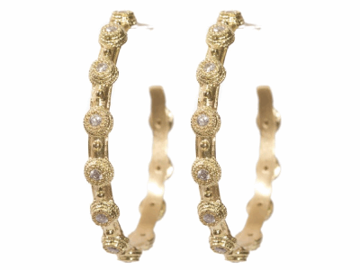 Collection: Sueno Style #: 00951 Description: 18k Yellow gold small hoop earring with white diamonds in bolero setting.45Cts Diameter 30mmMetal: 18k Yellow Gold