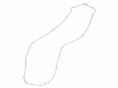 "Collection: Sueno Style #: 05777 Description: 18k Yellow gold 38"" small scroll necklace with white diamonds and labrodorite beads. Diamond Weight .45 ct.Metal: 18k Yellow Gold"