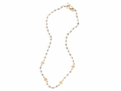 """Collection: Sueno Style #: 05775 Description: 18k Yellow gold 18"""" small scroll necklace with white diamonds and labrodorite beads. Diamond Weight .22 ct.Metal: 18k Yellow Gold"""