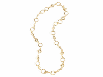 "Collection: Sueno Style #: 05774 Description: 18k Yellow gold 20.5"" sculpted circle link necklaceMetal: 18k Yellow Gold"