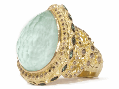 Collection: Sueno Style #: 06597 Description: 18k Yellow gold large pear Green Turquoise ring with champagne and marquis peacock tourmaline.Metal: 18k Yellow Gold