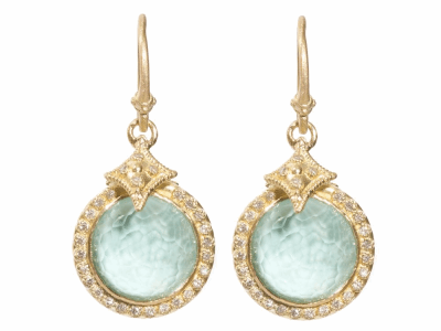 Collection: Sueno Style #: 06593 Description: 18k Yellow gold 12mm round drop earring with Green Turquoise.Metal: 18k Yellow Gold