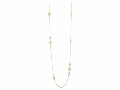 """Collection: Sueno Style #: 06408 Description: Sueno 18k yellow gold 32"""" open clover scroll (4 large) station necklace withchampagne diamonds on 1mm chain.Metal: 18k Yellow Gold"""