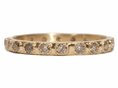Collection: Sueno Style #: 06191 Description: 18k Yellow gold small stack ring with champagne diamonds. Diamond Weight 0.55 ct.Metal: 18k Yellow Gold