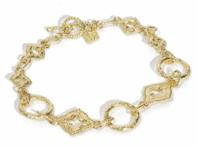 "Collection: Sueno Style #: 06190 Description: 18k Yellow gold 7"" sculpted circle link bracelet.Metal: 18k Yellow Gold"