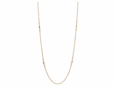 """Collection: Sueno Style #: 06072 Description: 18k yellow gold 18"""" cable chain with 4 mini-dagger stations with white diamonds. Diamond Weight 0.032 ct.Metal: 18k Yellow Gold"""