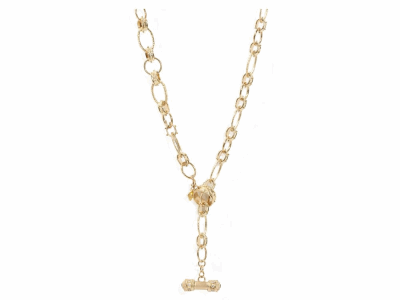 """Collection: Sueno Style #: 05994 Description: 18k Yellow gold 18"""" oval hoop toggle necklace with white diamonds. Diamond Weight .32 ct.Metal: 18k Yellow Gold"""