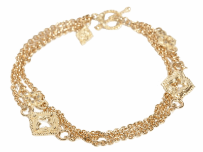 "Collection: Sueno Style #: 05938 Description: 18k Yellow gold 7"" clover scroll three strand bracelet with champagne diamonds . Diamond Weight 0.096 ct.Metal: 18k Yellow Gold"