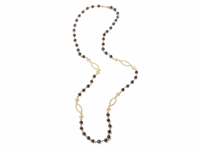 "Collection: Sueno Style #: 06889 Description: 18k Yellow gold 38"" pointed scroll and oval black diamond beaded necklace with white diamonds. Diamond Weight 133.76ctMetal: 18k Yellow Gold"