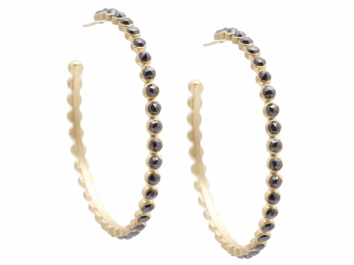 Collection: Sueno Style #: 06791 Description: 18k Yellow gold 52mm hoop earring with 3mm rose-cut eternity black diamonds.Metal: 18k Yellow Gold
