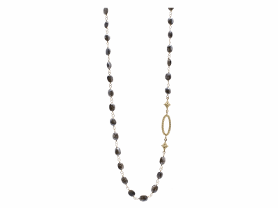 "Collection: Sueno Style #: 10035 Description: Sueno 18k yellow gold 30"" single station cravelli and oval Silverite beaded necklace with white diamonds.Metal: 18k YG"