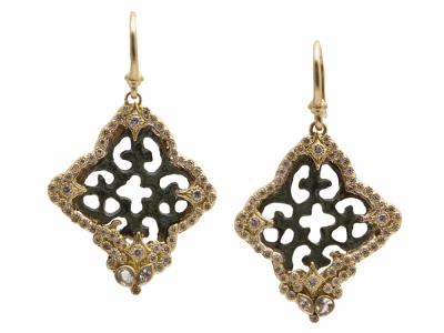 Collection: Sueno Style #: 10398 Description: Sueno 18K Yellow Gold 4-point lace artifact earring with white diamonds and white sapphires. Diamond Weight 0.67ct