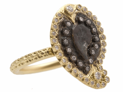 Collection: Sueno Style #: 10385 Description: Sueno 18K Yellow Gold petite paisley artifact ring with white diamonds. Diamond Weight 0.26ct