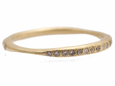 Collection: Sueno Style #: 10383 Description: Sueno 18K Yellow Gold inside-set 1mm white diamond stack ring. Diamond Weight 0.15ct