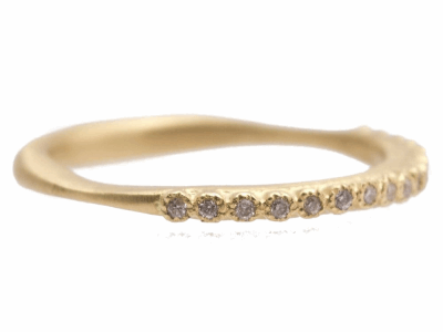 Collection: Sueno Style #: 10381 Description: Sueno 18K Yellow Gold 1mm white diamond stack ring. Diamond Weight 0.09ct
