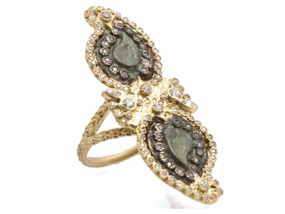 Collection: Sueno Style #: 10565 Description: Sueno 18K Yellow Gold large double-paisley artifact ring with white diamonds and white sapphires. Diamond Weight 0.56ct