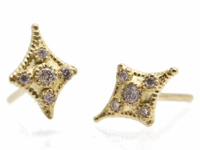 Collection: Sueno Style #: 9639 Description: Sueno 18k yellow gold petite cravelli stud earring with white diamonds.Metal: 18k Yellow Gold
