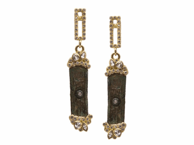 Collection: Sueno Style #: 9636 Description: Sueno 18k yellow gold artifact rectangle cluster earrings with white diamonds and white sapphires.Metal: 18k Yellow Gold
