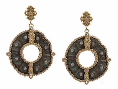 Collection: Sueno Style #: 9576 Description: Sueno 18k yellow gold large round disc artifact earring with white diamonds.Metal: 18k Yellow Gold