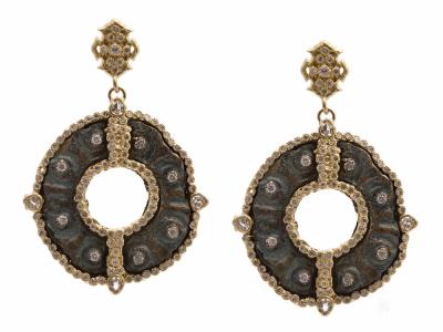 Collection: Sueno Style #: 9576 Description: Sueno 18k yellow gold large round disc artifact earring with white diamonds.Metal: 18k Yellow Gold