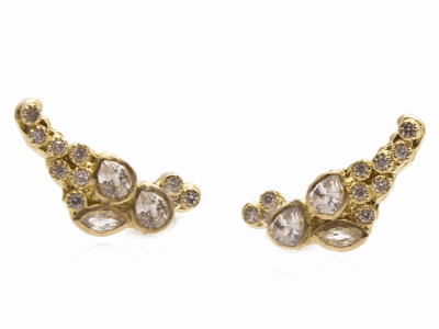 Collection: Sueno Style #: 9480 Description: Sueno 18k yellow gold cluster petite ear climber earring with white diamonds and white sapphires.Metal: 18k Yellow Gold