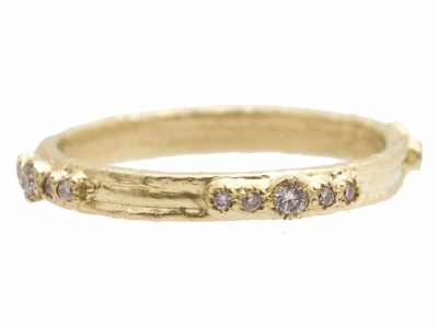 Collection: Sueno Style #: 9665 Description: Sueno 18k yellow gold artifact stack ring with white diamonds.Metal: 18k Yellow Gold